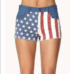 Forever 21 American Flag High Rise Jean Shorts 30
